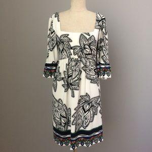 Cream & Black Square Neck Dress